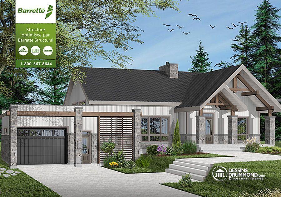 Détail du plan de Maison unifamiliale W3992-V2 Maison (plan