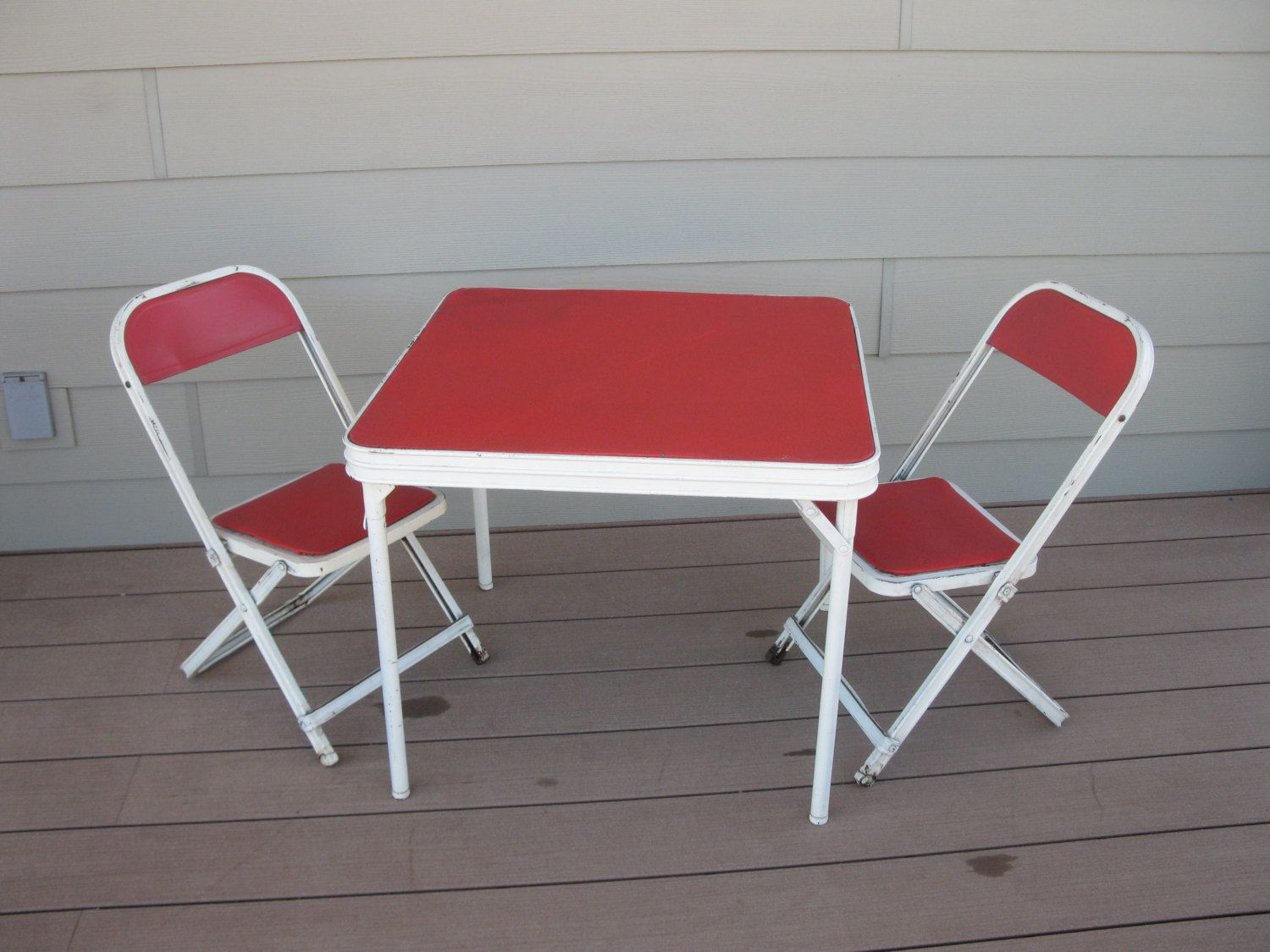 Mid Century Childs Card Table And Chairs Folding Chairs Metal Red Vinyl Retro Home Decor Hampden Specia Card Table And Chairs Retro Home Decor Retro Home