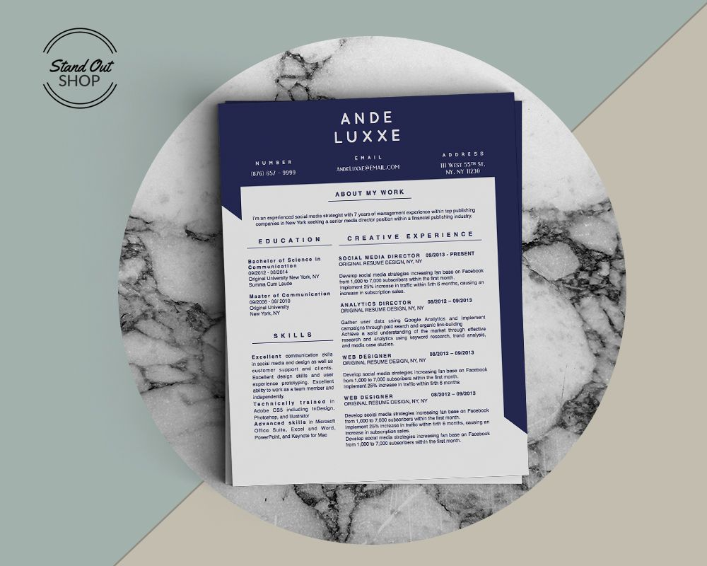 Ande Luxxe Resume Template  Ande Luxxe Resume Template