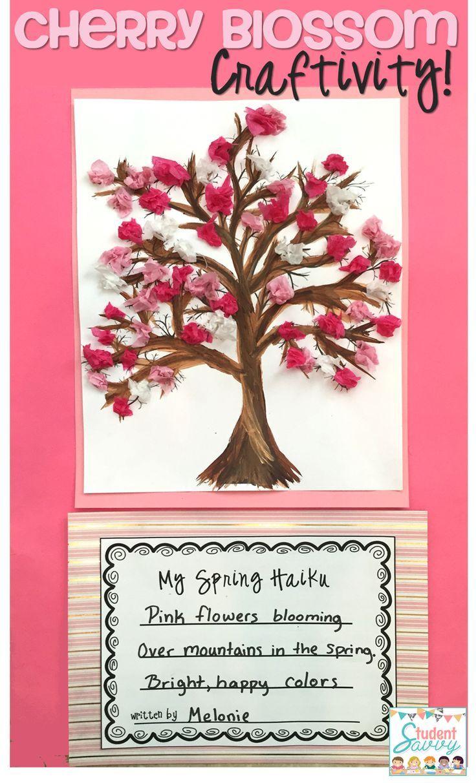 Spring Cherry Blossom Sakura Tree Craftivity Spring Art Projects Spring Art Cherry Blossom