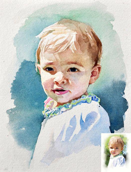 Custom Watercolor Portrait Original Painting 8x10 By Litong