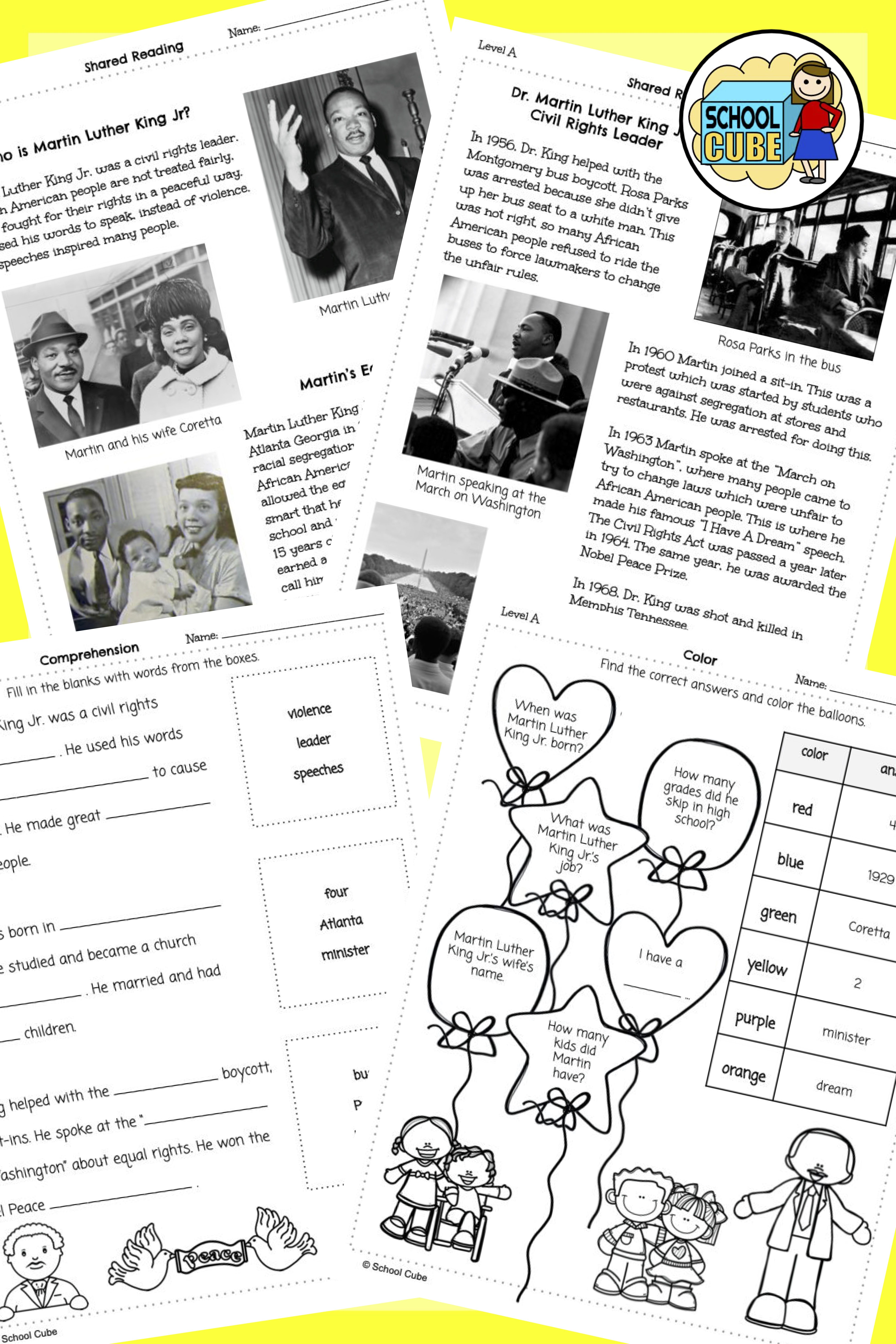 Martin Luther King Jr Activities Differentiated In