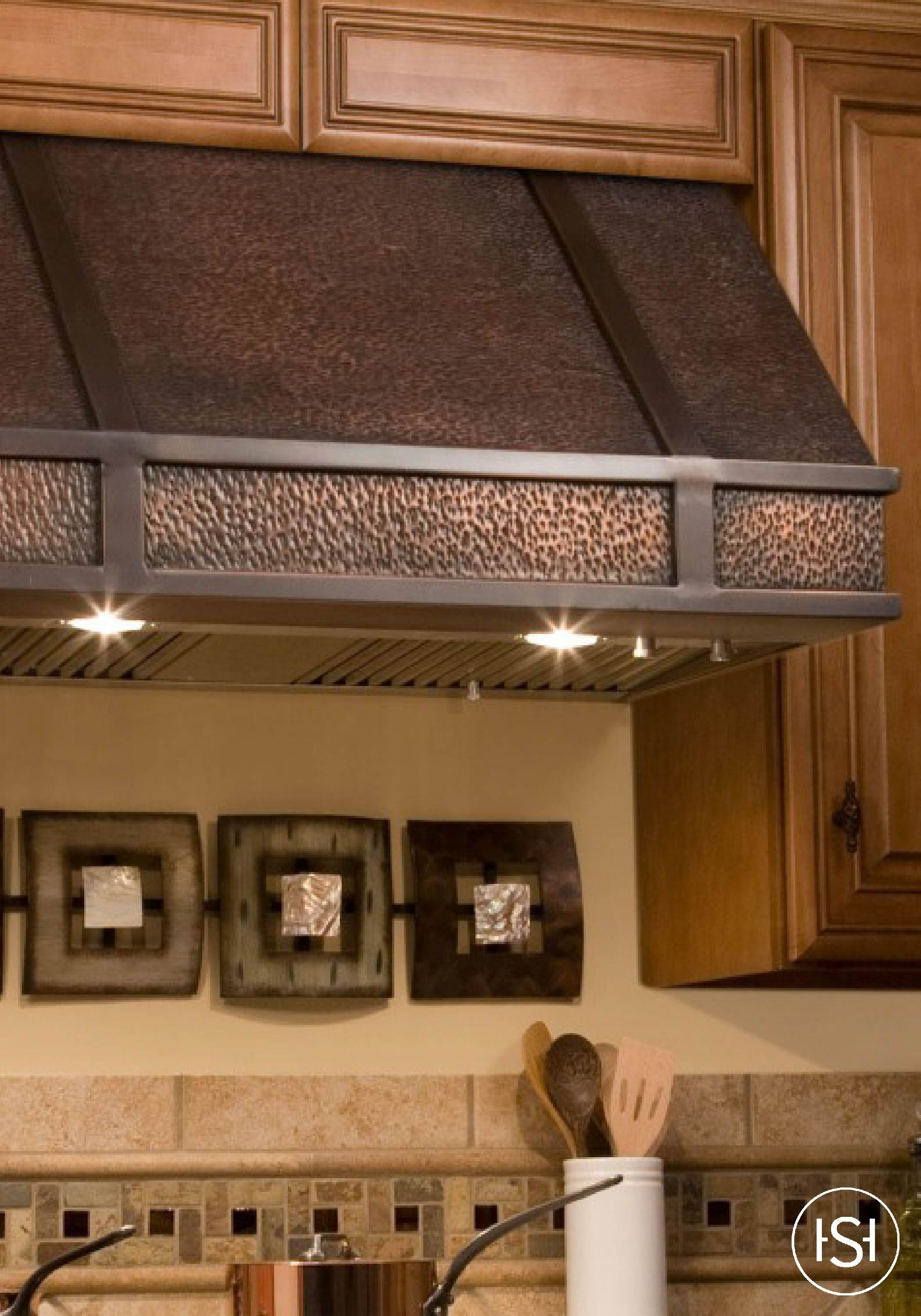 Freshen Up The Air And Style Of Your Kitchen With This Wall Mount Range Hood Featuring A Hand Hammered Texture Accent Bands Made Solid Copper