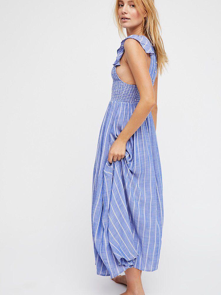 get new great prices san francisco Chambray Butterflies Midi Dress | Dresses, Striped midi dress ...