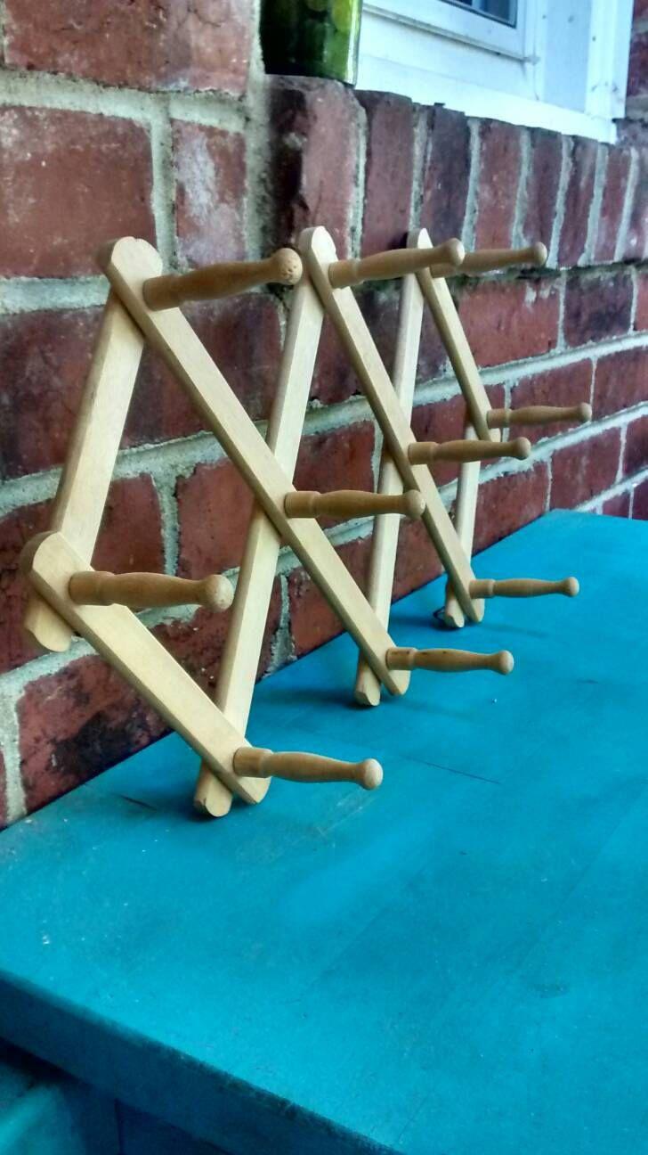 Folding Coat Racks Rack Diamond Shaped Accordion Hook Fold Up Wooden 88