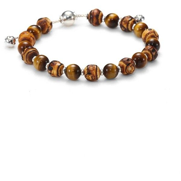 5d2a23b81 Gucci Bamboo, Tiger's Eye & Sterling Silver Beaded Bracelet ($395) ❤ liked  on Polyvore featuring jewelry, bracelets, apparel & accessories, brown,  gucci ...