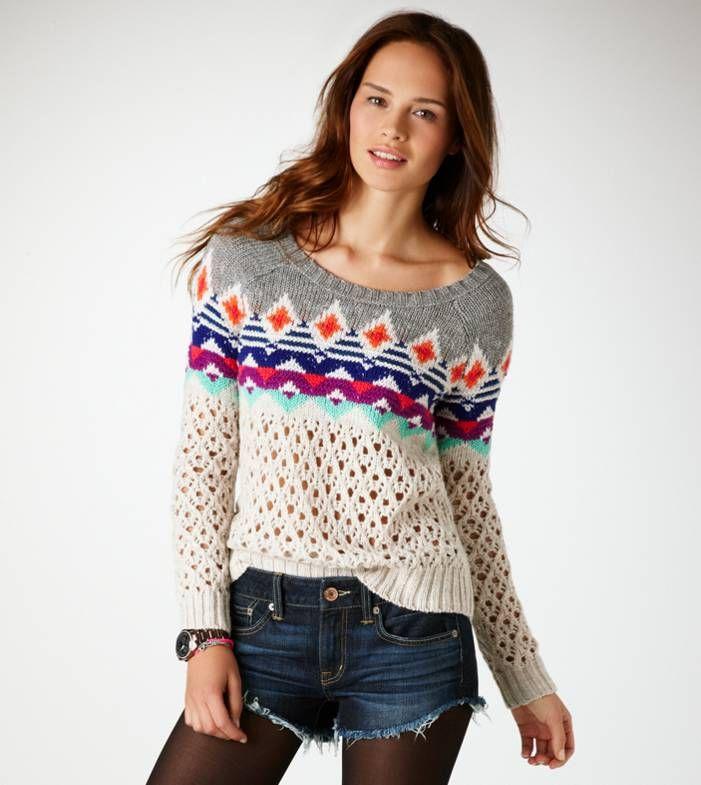 AE Fair Isle Open Stitch Sweater   My Dream Closet   Pinterest
