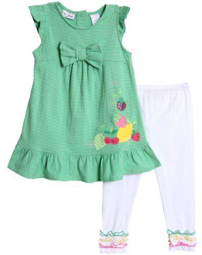 31f88c1c88890 BT Kids Little Girls 2 Piece Green Striped Summer Fruit Tunic Top White  Leggings - Click