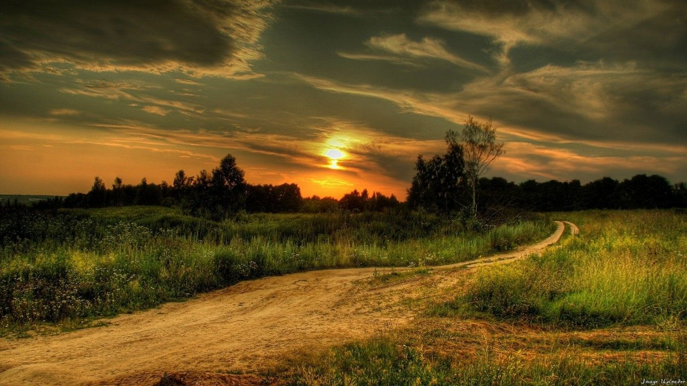 Wallpaper Laptop Decline Road Country Signature Evening Jpg 1366x768 Sunset Summer Roads Background Pretty