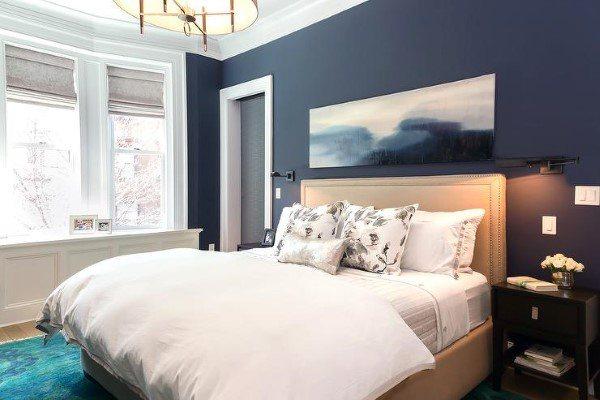 Top 50 Best Navy Blue Bedroom Design Ideas Calming Wall Colors Blue Bedroom Walls Gray Accent Wall Bedroom Feature Wall Bedroom