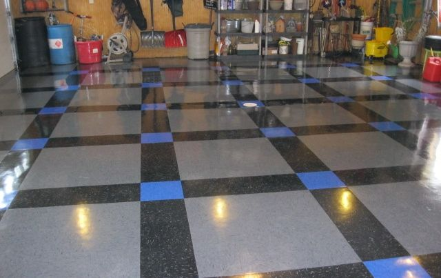 vinyl composite garage floor i really like the pattern of this one its a - Vct Pattern Ideas
