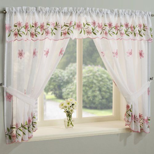 Valance Daisy Floral Kitchen Window Curtains With Matching Tie Backs /& Pelmet