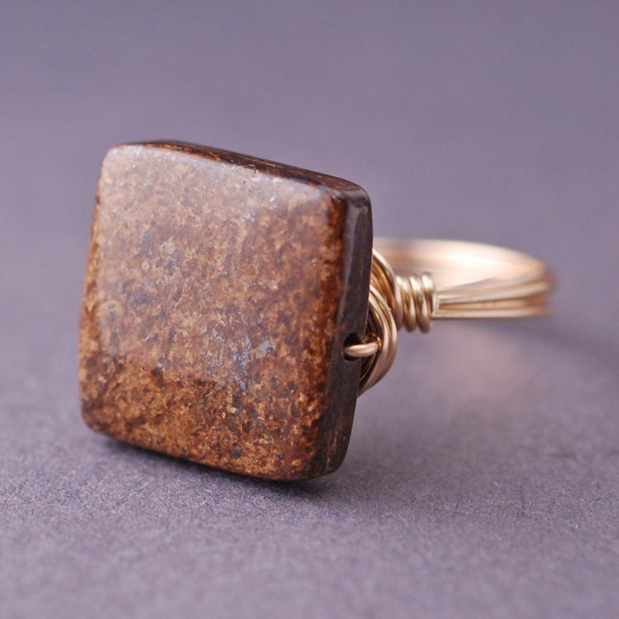 Gold Ring, Bronzite Ring, Brown Square Ring, Wire Wrapped Fashion Cocktail Ring. $32.00, via Etsy.