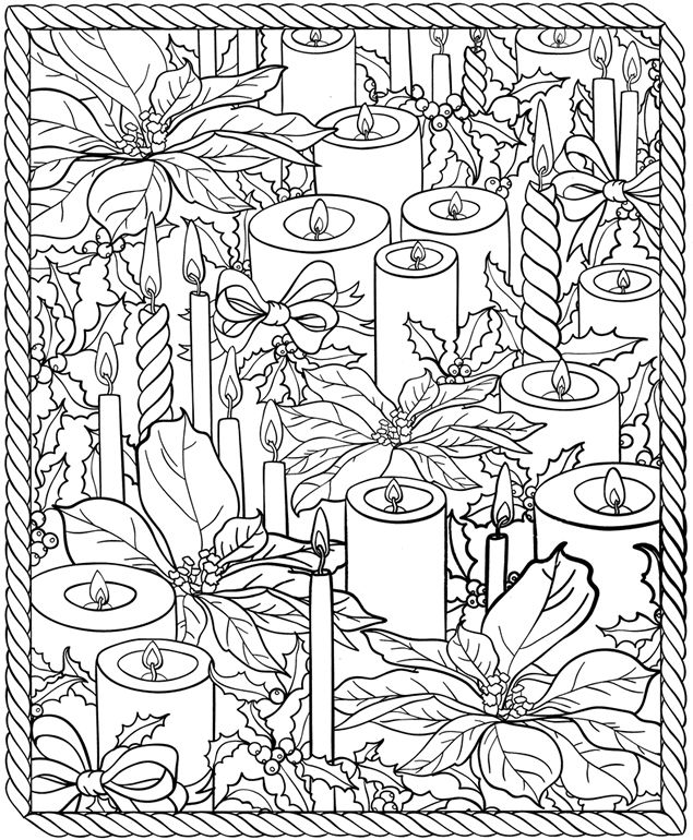 Christmas coloring page. Candles. Poinsettia. Dover