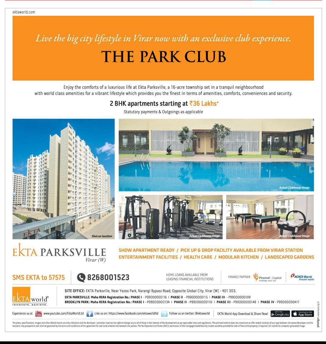 Ekta World The Park Club Live The Big City Lifestyle In Virar Now With An Exclusive Club Experience Ad Mid Day Mumbai Https Www Ad City Lifestyle City World