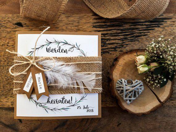 Ab 2,49 Euro : EINLADUNG HOCHZEIT Boho – Hochzeitseinladung | Einladungskarte | Hochzeitskarten | Vintage | Rosmarin| Kraftpapier RORY