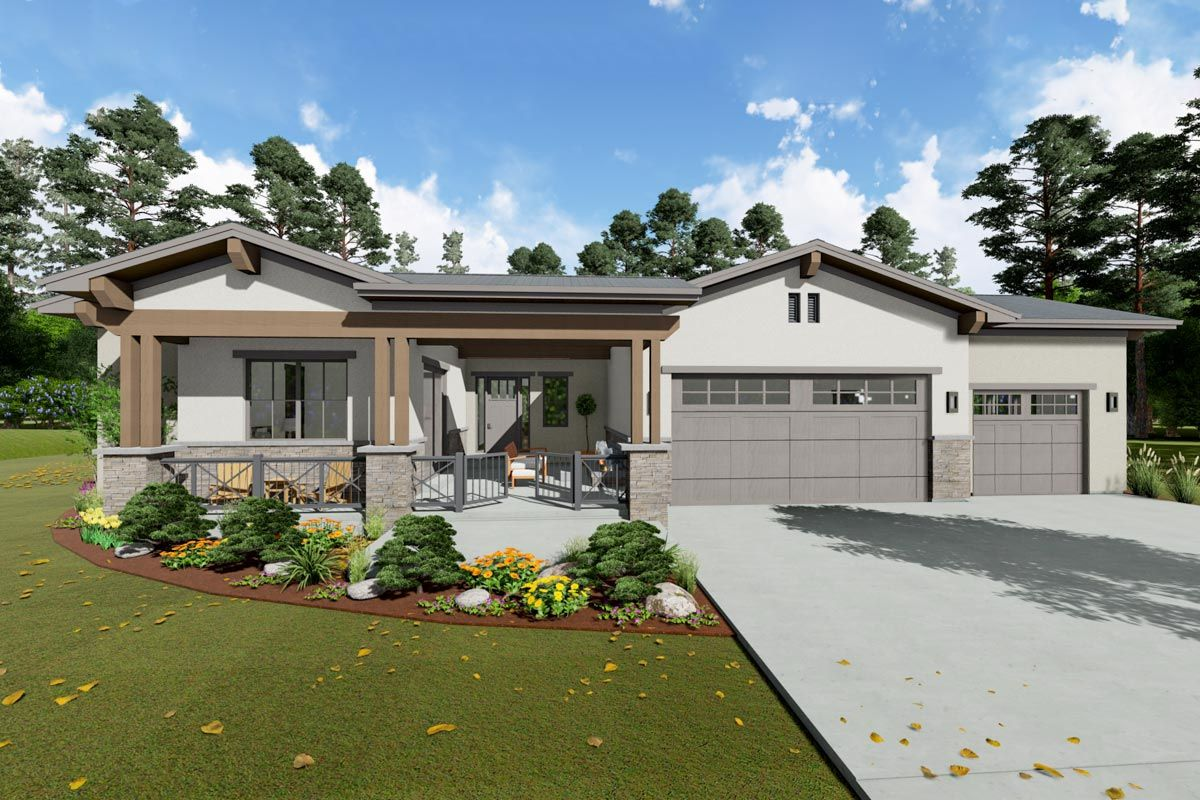 Plan 64494sc One Level Contemporary House Plan With Optional Lower Level In 2020 Contemporary House Plans One Level House Plans House Architecture Design