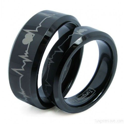 Matching Black Comfort Fit Tungsten Carbide Wedding Rings Set With Laser ECG Heartbeat Forever Love Design
