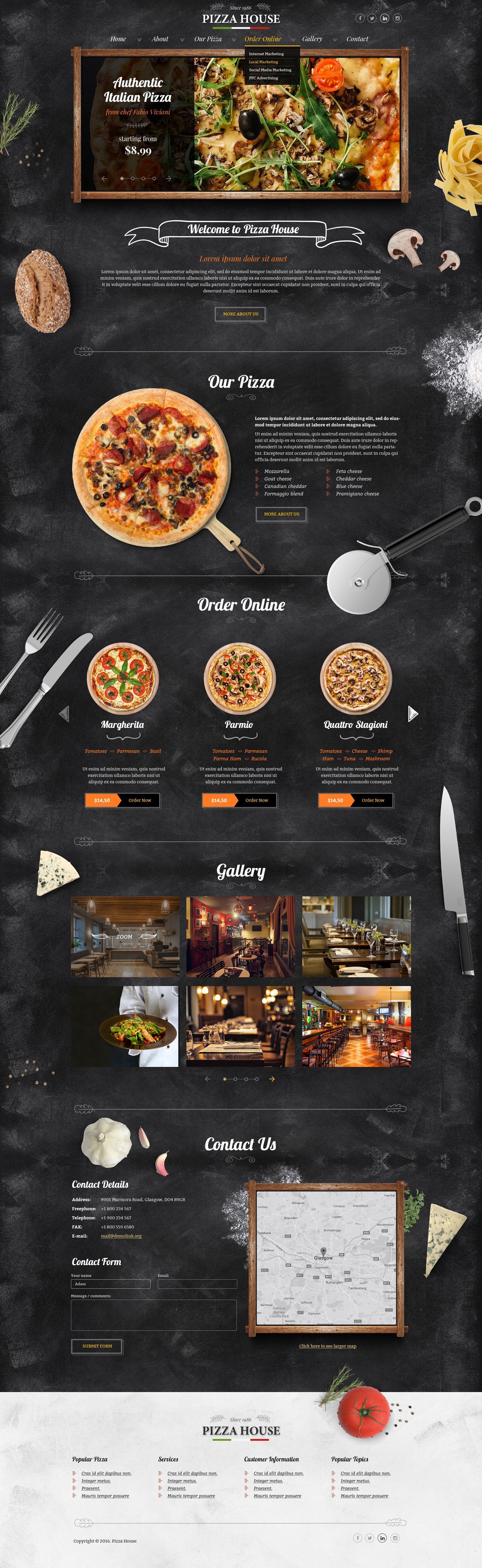Bootstrap website template for pizzeria tags pizza website bootstrap website template for pizzeria tags pizza website template pizza templates pizzeria pronofoot35fo Images