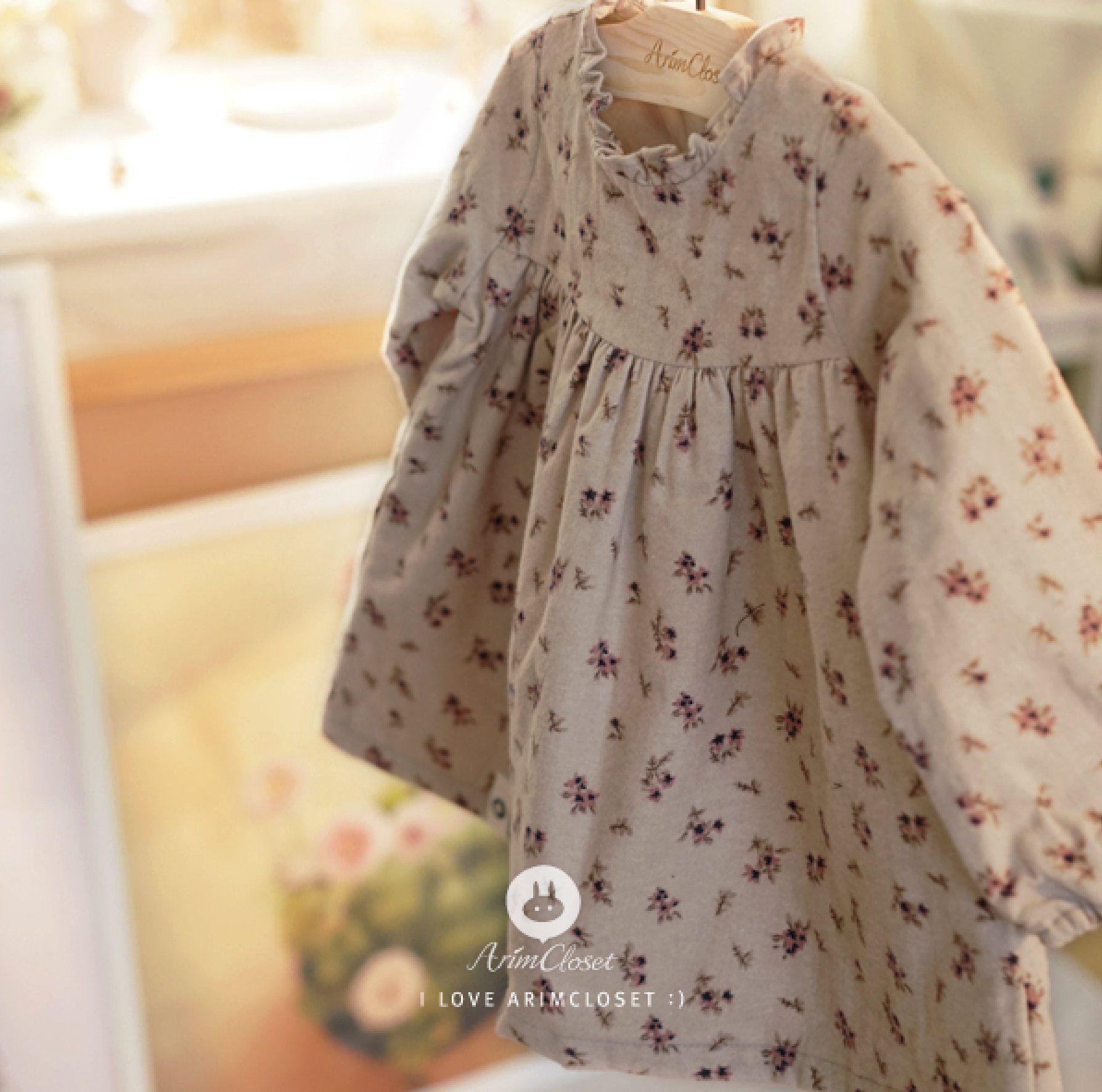 Arim Closet Cute Flower Baby Winter Dress, Korean Kids
