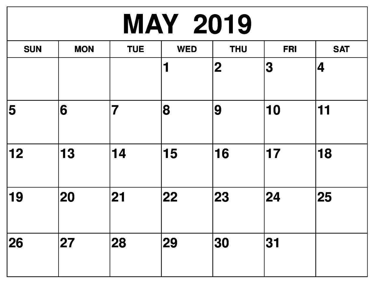free printable may 2019 calendar editable