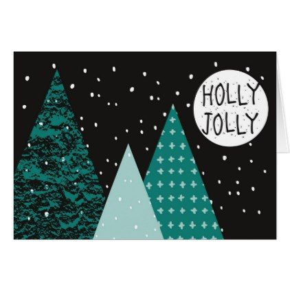 Christmas Holiday  Teal Holly Jolly  Trees Card