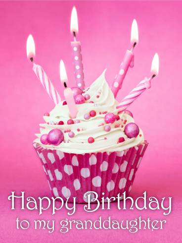 Pink Cupcake Birthday Card For Granddaughter Frost The Cupcakes And Light Candles Its Your Granddaughters Shes Ready To Celebrate
