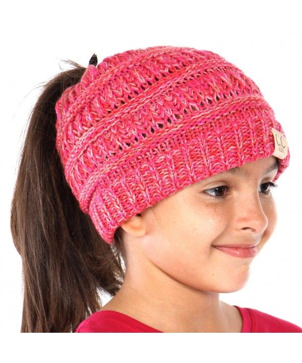 Beanie Tail Kids Soft Stretch Cable Knit Messy High Bun Ponytail Beanie Hat Tri Color Pink CC188DQOGCZ #kidsmessyhats