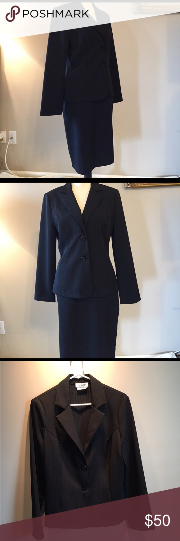 Euc a buyer piece black business suit sz large d business