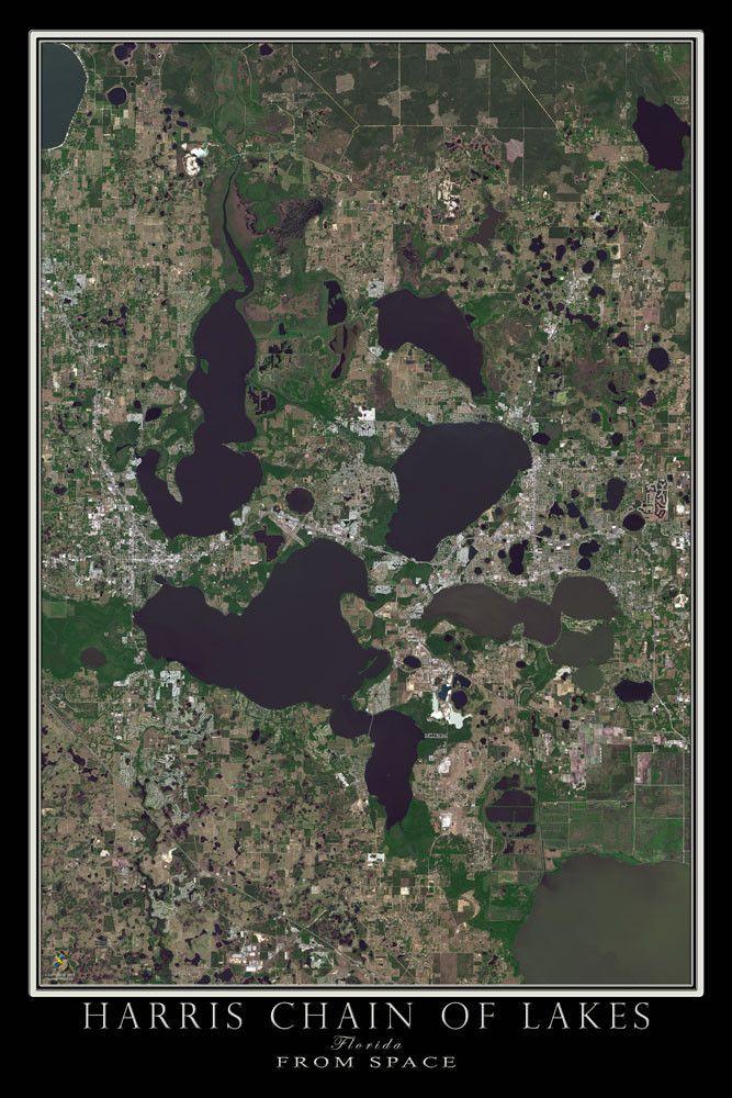 Map Of Leesburg Florida.Harris Chain Of Lakes Florida Satellite Poster Map Bass Fishing