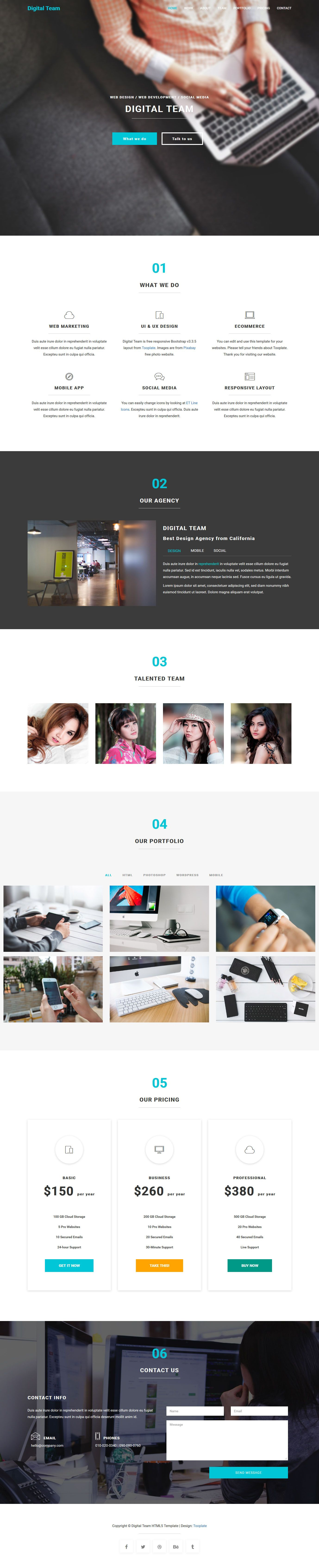 Digital Team HTML5 is responsive Boostrap v3.3.5 layout. This ...