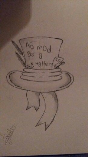 As mad a a hatter alice in wonderland drawing