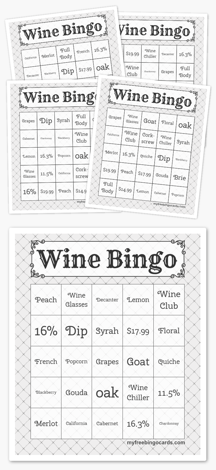 graphic about Wine Tasting Games Printable named Totally free Printable Bingo Playing cards PartAAAAY Building within just 2019