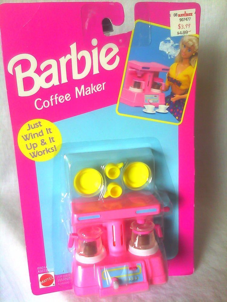 vintage 1992 coffee maker barbie doll accessory pretend kitchen playset new nrfb barbie doll. Black Bedroom Furniture Sets. Home Design Ideas