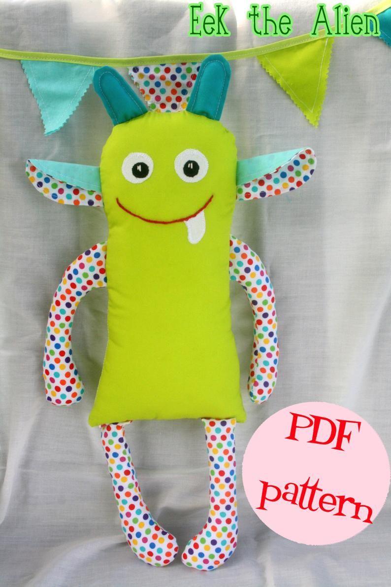 "Instant Download Eek the Alien Pattern for 16"" Plush Alien Monster Toy Doll DIY Sewing Tutorial"