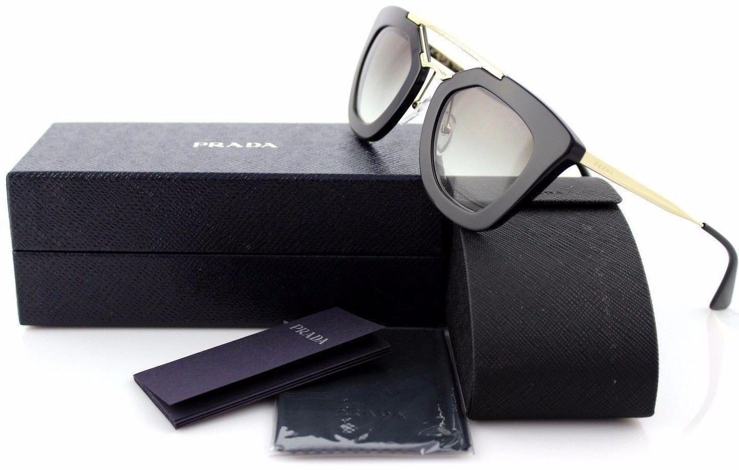 e963913f1d4b6  550 NEW PRADA CINEMA Collection Black Gold Sunglasses SPR 09Q 1AB0A7 PR  09QS