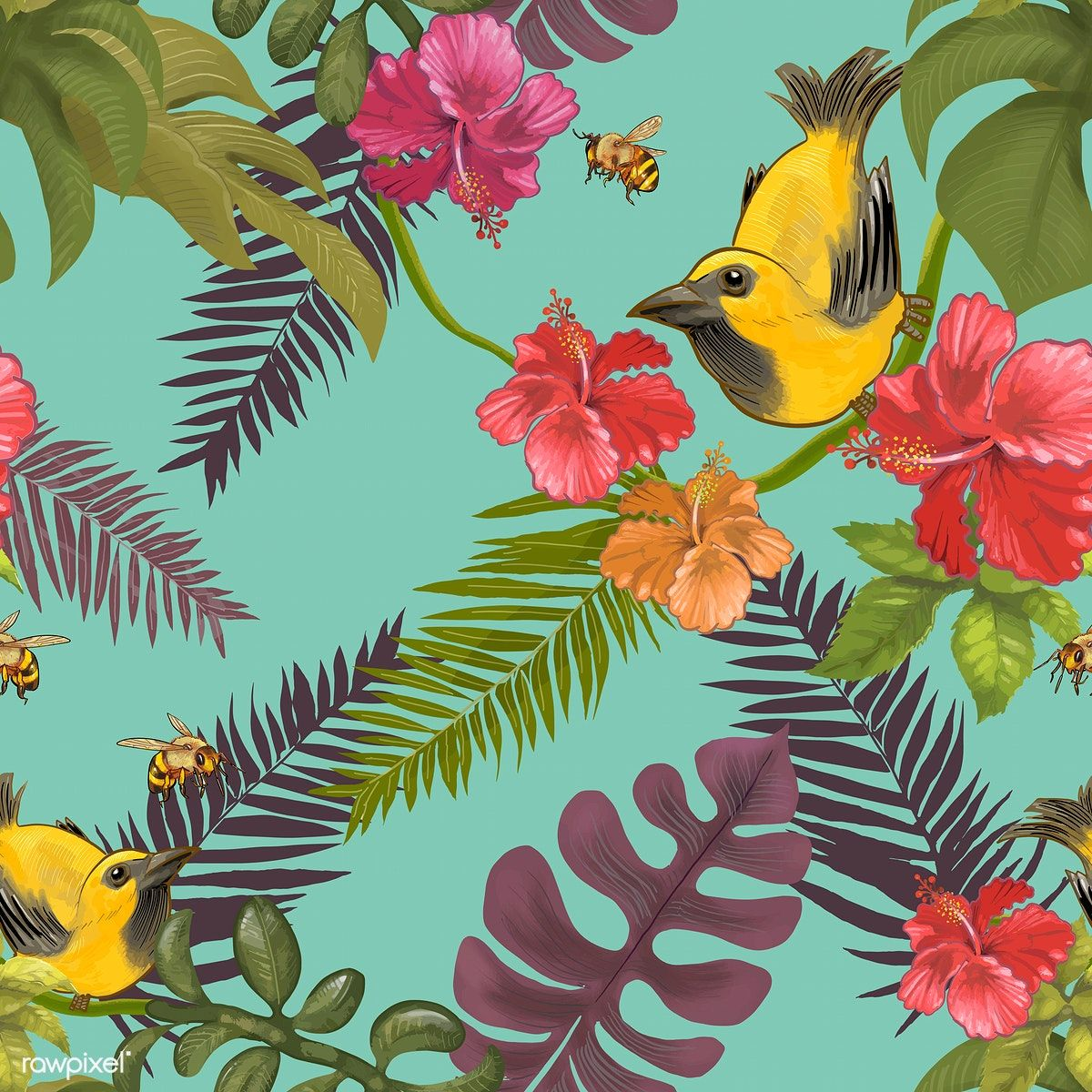 Tropical Floral Background With Birds And Bees Free Image By