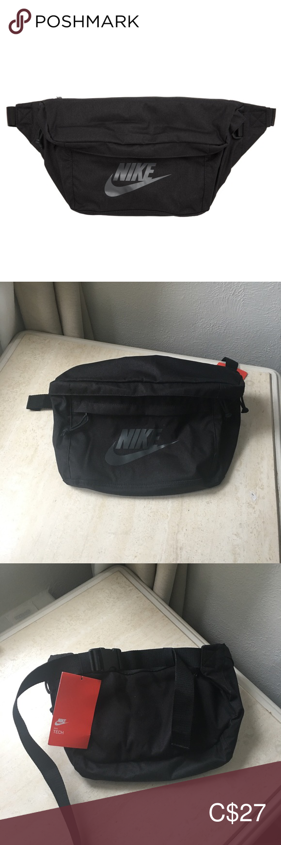 Nike black tech hip bag NWT NWT in 2020 Black nikes, Hip