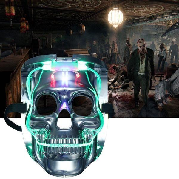 Silver Light Up LED Skeleton Skull Rave Mask Fiesta de disfraces de Halloween Cosplay ...-#disfrace
