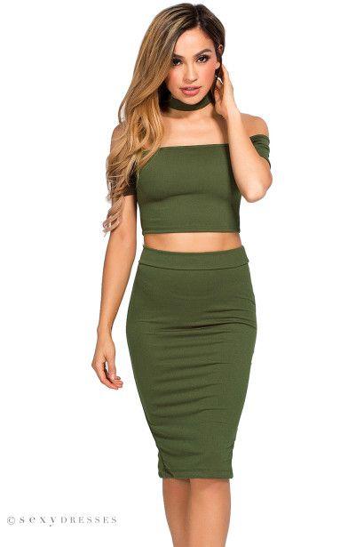 Ivy Olive Green Crop Top Skirt 2 Piece Choker Dress Crop Top