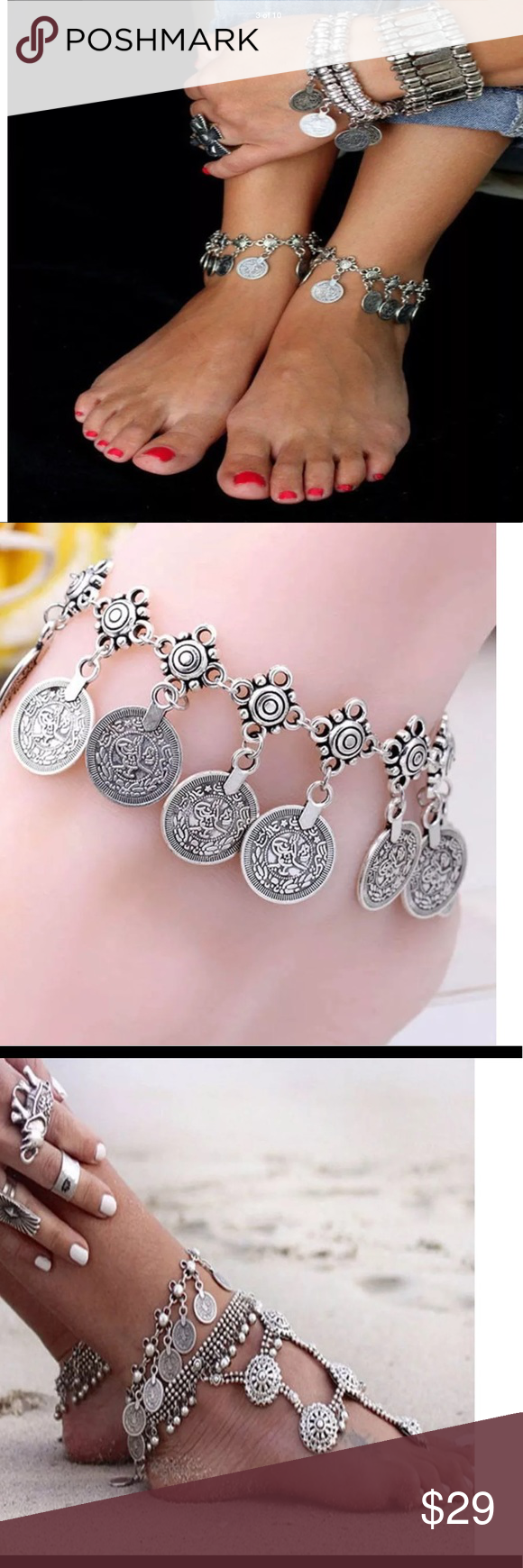 Just For The Beach Sexy Fashion Silver Coin Anklet Foot Jewelry Boutique Silver