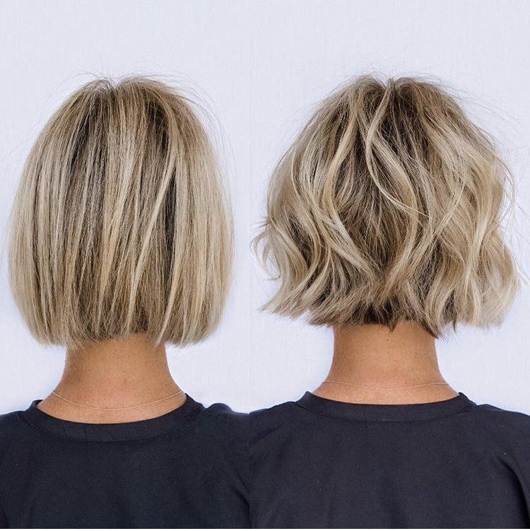 Blunt Bob Styled To Soft Wavy Textured Bob Haircut For Fine Hair Hair Styles Haircuts For Fine Hair