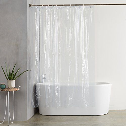 Amazonbasics Ultraheavyweight 20gauge Pvc Shower Curtain Liner With Hooks Treated To Resist Deter Plastic Shower Curtain Vinyl Shower Curtains Plastic Curtains