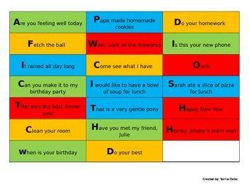4 Types of Sentences Cards   Language   4 types of sentences
