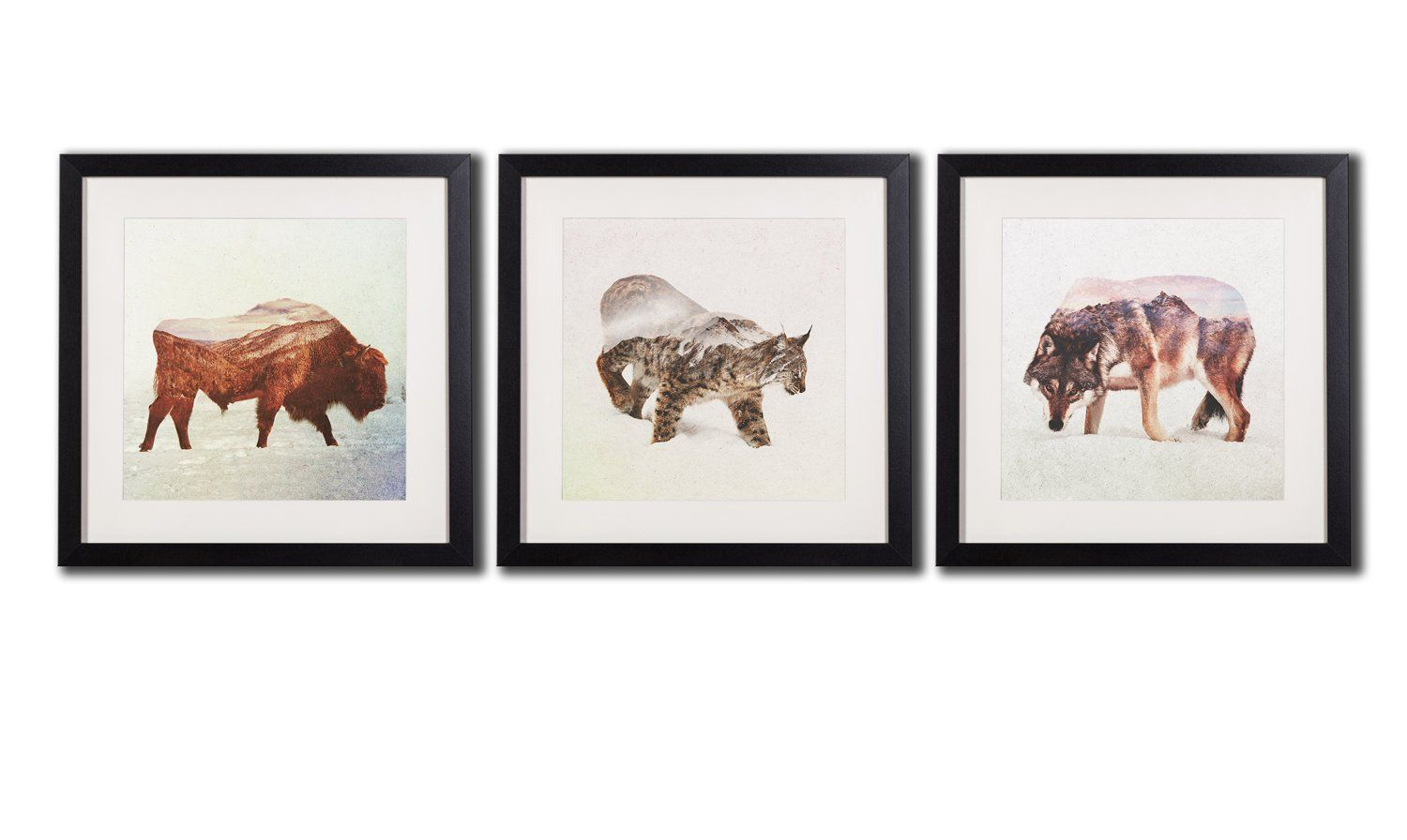 Wolf art wall decor framed little leopard print posters on canvas