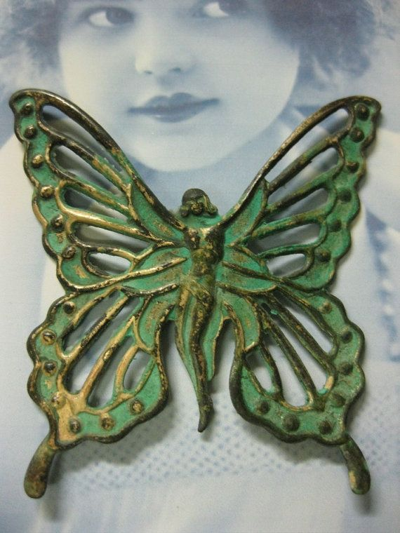 Grunspan Patina Fairy Gottin Schmetterling Von Dimestoreemporium
