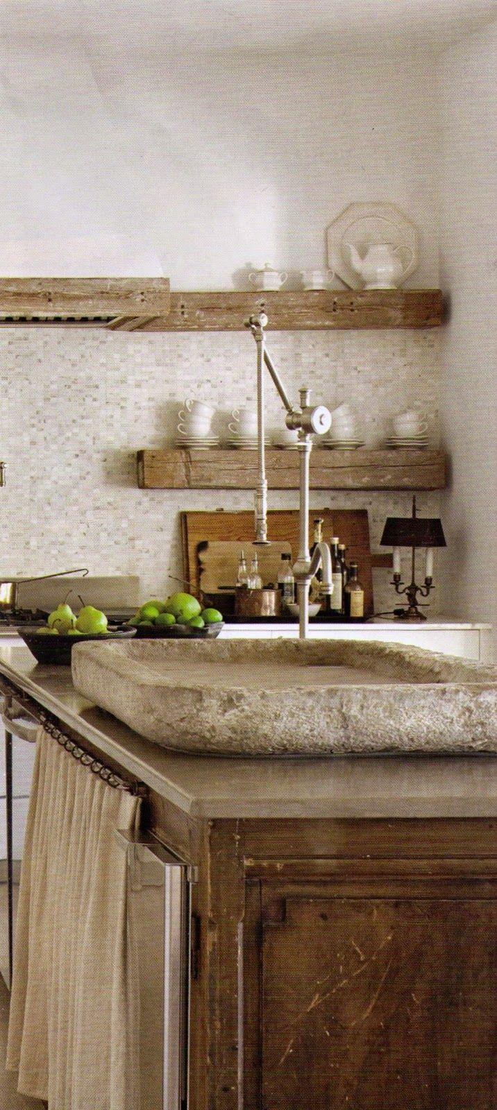 love the stone slab reclaimed island w reclaimed timber shelves - Stone Slab Kitchen Decor