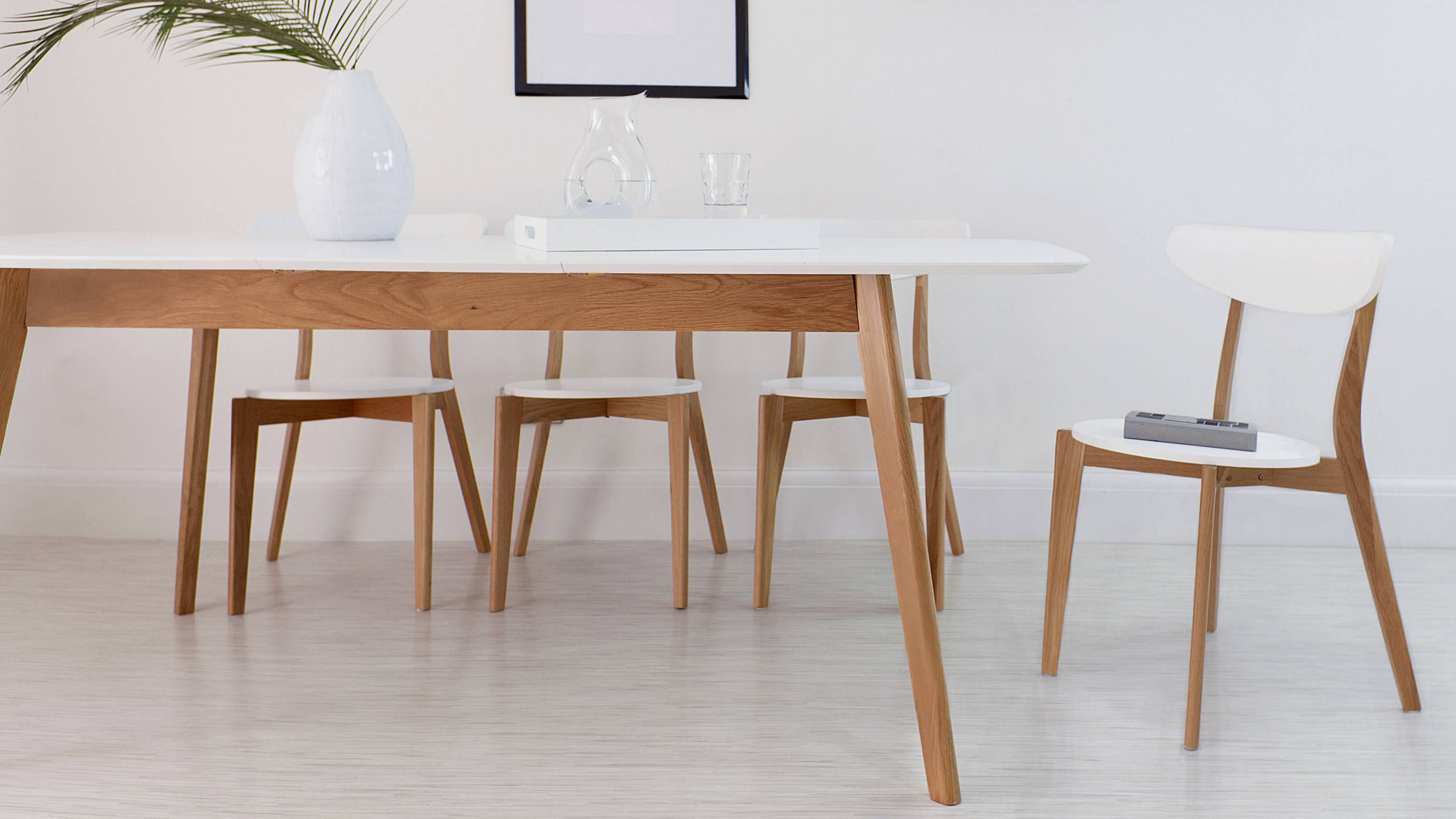 Aver Oak And White Extendable Table White Extending Dining Table Extendable Dining Table Dining Table