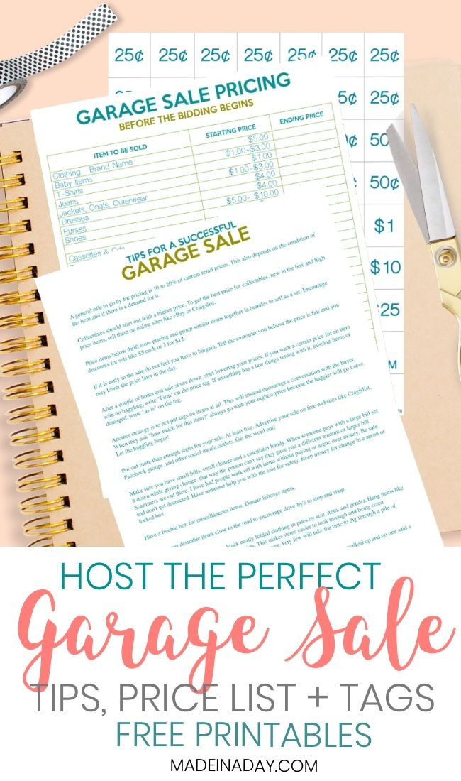 How To Host The Perfect Garage Sale Printable Set Garage