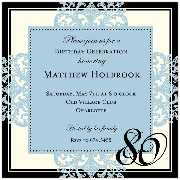 Decorative square border blue 80th birthday invitations party decorative square border blue 80th birthday invitations filmwisefo Image collections
